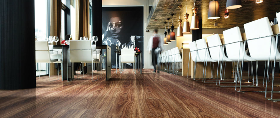 Luxury Wood Effect Vinyl in a contemporary Restaurant setting