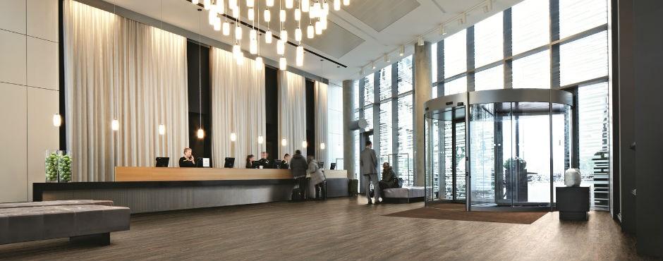 entranceway flooring in a large hotel