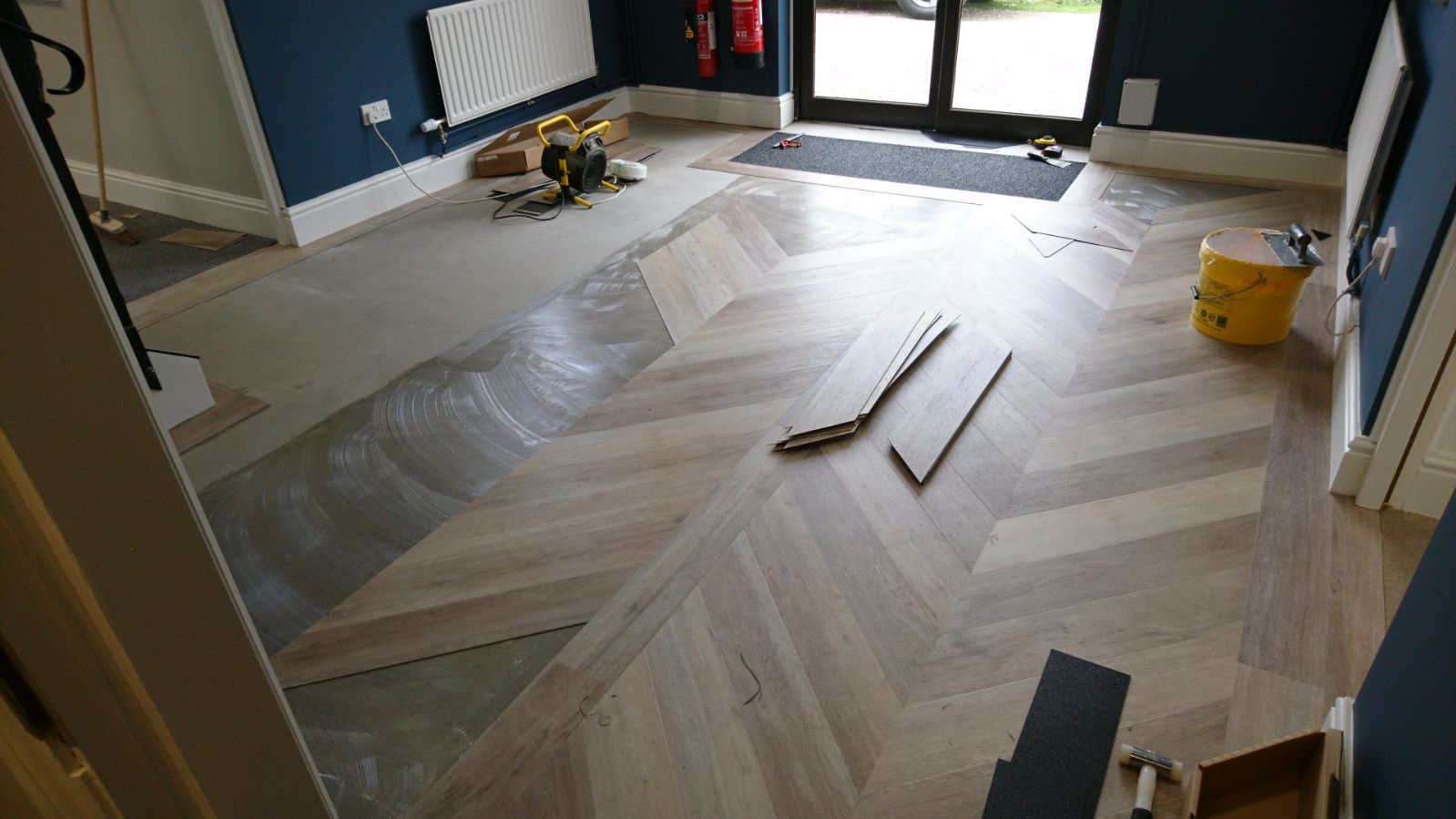 LVT being installed