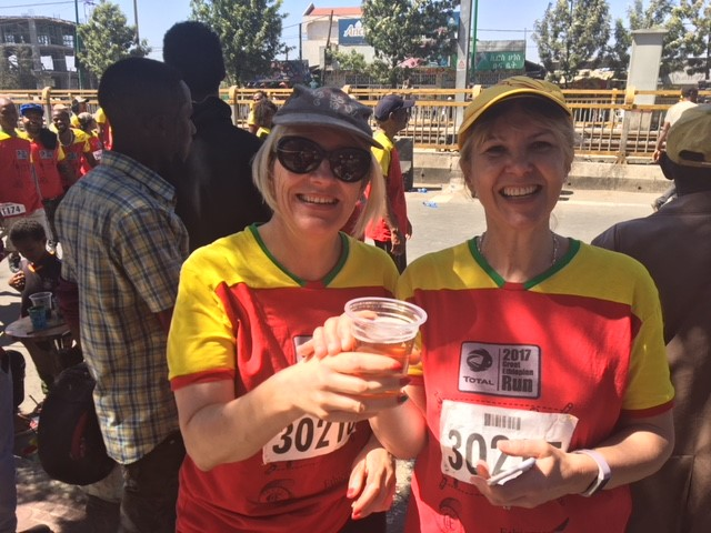 Beer point at the great Ethiopian run 2017
